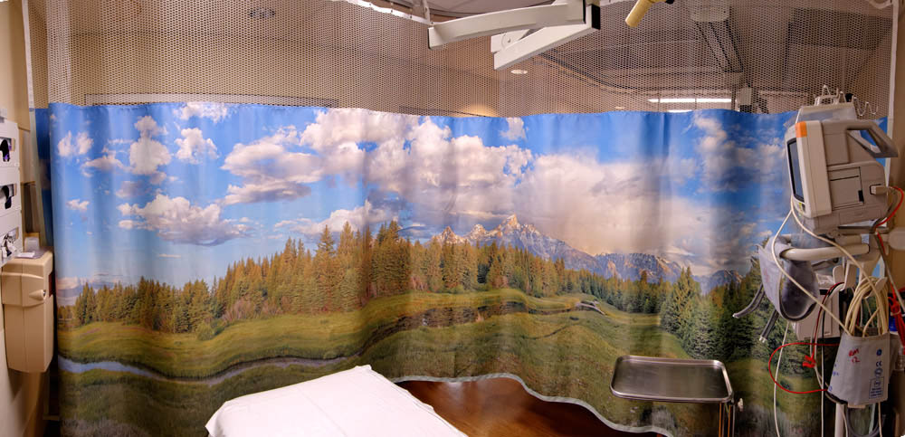 Hospital curtains scenic overheads wall treatments